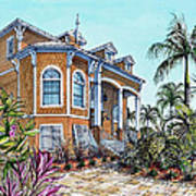 Magnolia Beach House Art Print