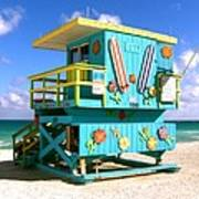 Beach Life In Miami Beach Art Print