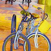 Beach Parking For Bikes Art Print