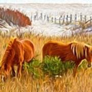 Beach Ponies Art Print
