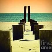 Beach Pylons Art Print