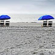 Beach Umbrellas On A Cloudy Day Art Print
