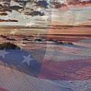Beach With Flag Art Print