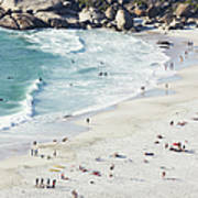 Beach With Swimmers Cape Town Art Print