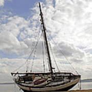 Beached Sailboat Art Print