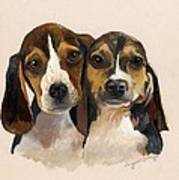 Beagle Babies Print by Suzanne Schaefer