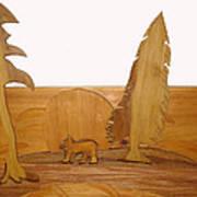 Bear Between Two Trees Art Print