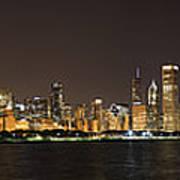 Beautiful Chicago Skyline With Fireworks Print by Adam Romanowicz