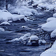 Beautiful Creek In Winter In Stanley Idaho Art Print