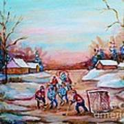 Beautiful Day For Pond Hockey Winter Landscape Painting  Art Print