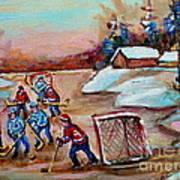 Beautiful Day-pond Hockey-hockey Game-canadian Landscape-winter Scenes-carole Spandau Art Print