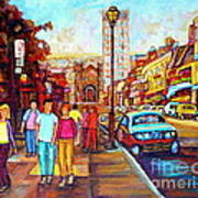 Beautiful  Downtown City Stroll  Cafe Paintings Montreal Restaurants On Crescent Street C Spandau Art Print
