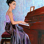 Beautiful Girl Playing Piano Art Print