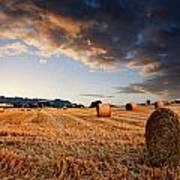 Beautiful Hay Bales Sunset Landscape Digital Paitning Art Print