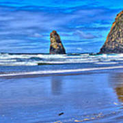 Beautiful Haystack Rock And The Needles Print by David Patterson