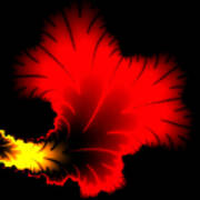 Beautiful Red And Yellow Floral Fractal Artwork Square Format Art Print
