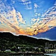 Beautiful Sky Over The Harbour Digital Painting Art Print