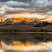 Beautiful Sunrise On Little Redfish Lake Art Print