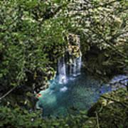 Beautiful Waterfall In The Mountains In Navarra Art Print