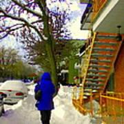 Beautiful Yellow Staircase Verdun Snow Scene Montreal Art Colors Of Quebec Carole Spandau Art Print