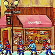 Beauty's Restaurant Paintings Of Plateau Montreal Winter Scenes Hockey Art Carole Spandau  Art Print