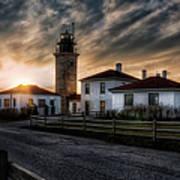 Beavertail Lighthouse Sunset Art Print
