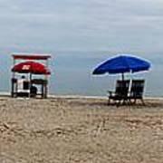 Beach Chairs Panorama Hilton Head  Art Print