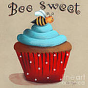 Bee Sweet Cupcake Art Print by Catherine Holman