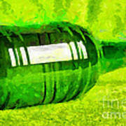 Beer Bottle Laying Over Green Painting Art Print