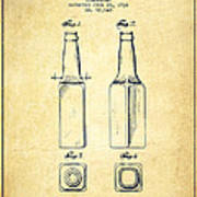 Beer Bottle Patent Drawing From 1934 - Vintage Art Print by Aged Pixel