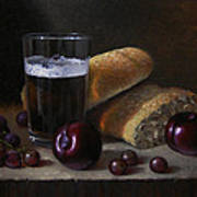 Beer Bread And Fruit Art Print by Timothy Jones