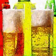 Beer Glasses Against Bottles Closeup Painting Art Print