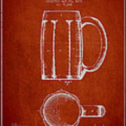 Beer Mug Patent From 1876 - Red Print by Aged Pixel