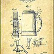 Beer Stein Patent From 1914 -vintage Art Print by Aged Pixel