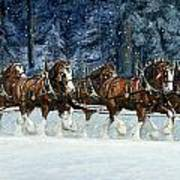Clydesdales 8 Hitch On A Snowy Day Art Print