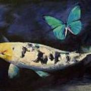 Bekko Koi And Butterfly Art Print by Michael Creese
