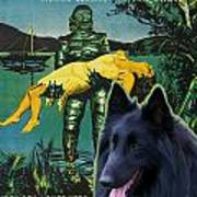 Belgian Shepherd Art Canvas Print - Creature From The Black Lagoon Movie Poster Art Print