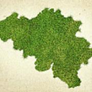 Belgium Grass Map Art Print by Aged Pixel
