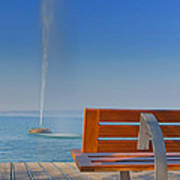 Bench And Fountain  Art Print