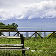 Bench By The Lake. Art Print