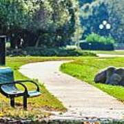 Bench In A Park With A Walkway Art Print