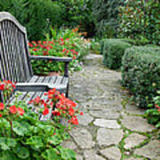 Bench In Borde Hill Gardens Art Print