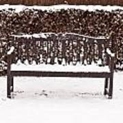 Bench In The Snow Art Print