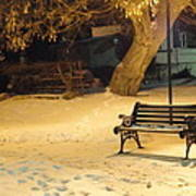 Bench In The Winter Park Art Print
