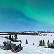 Bench Looking On Lake Laberge With Northern Lights Art Print