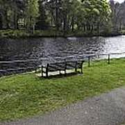 Bench On Shore Of River Ness In Inverness Art Print