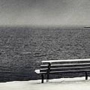 Bench On The Winter Shore Art Print