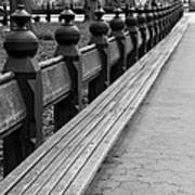 Bench Row Black And White Art Print