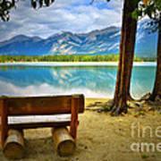 Bench View At Lake Edith Art Print
