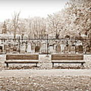Benches By The Cemetery In Sepia Art Print